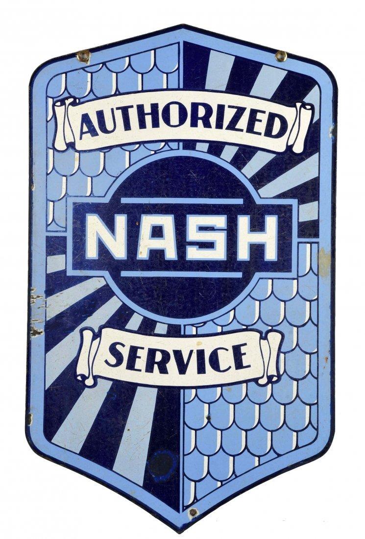Nash Authorized Service Diecut Fish Scale Sign.