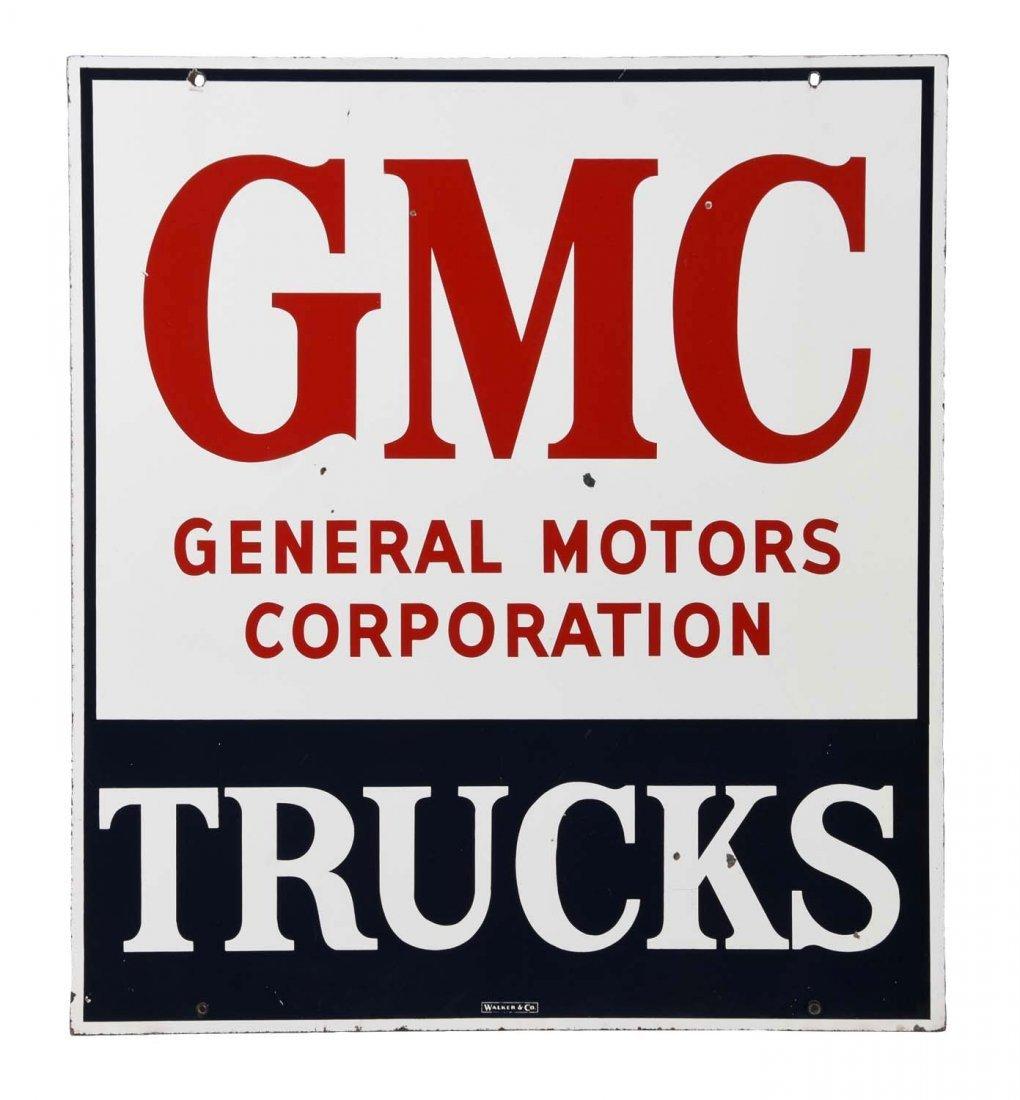 GMC Trucks Porcelain Sign.