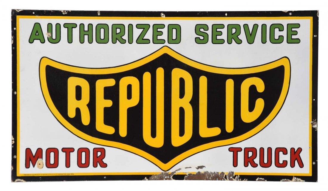 Republic Motor Truck Authorized Service Porcelain Sign.