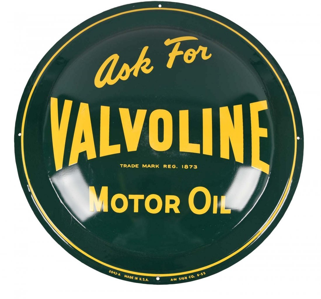 Ask For Valvoline Motor Oil Tin Bubble Sign.