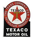 Texaco (black-T) Motor Oil Porcelain Flange Sign.