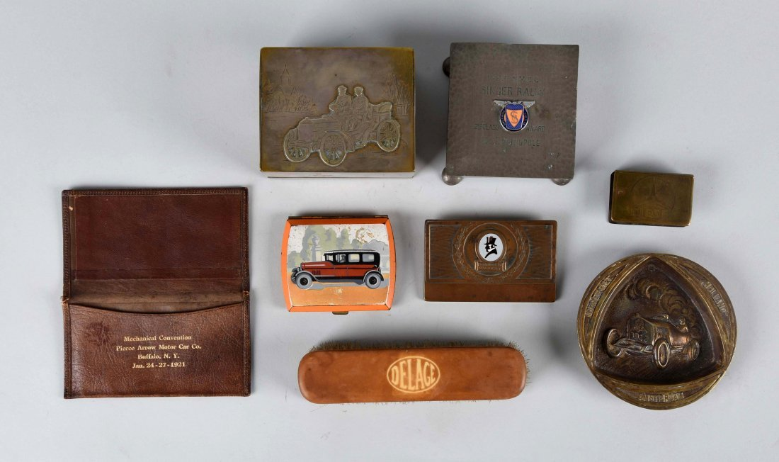 Lot of 8: Early Automobilia Pieces.
