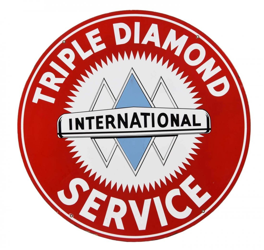 International Triple Diamond Service Porcelain Sign.