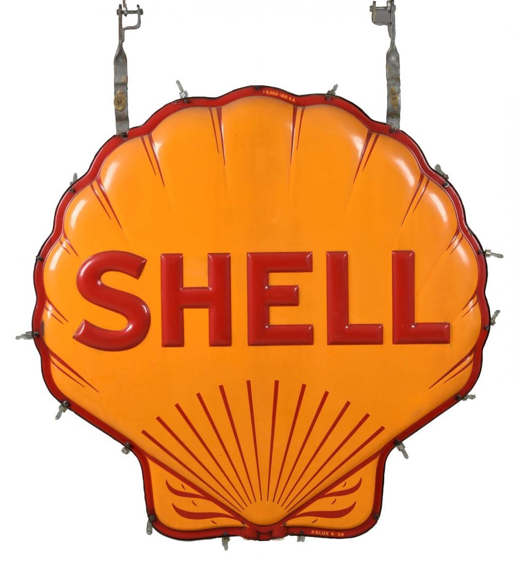 Shell Embossed Clam Shaped Neon Porcelain Sign.