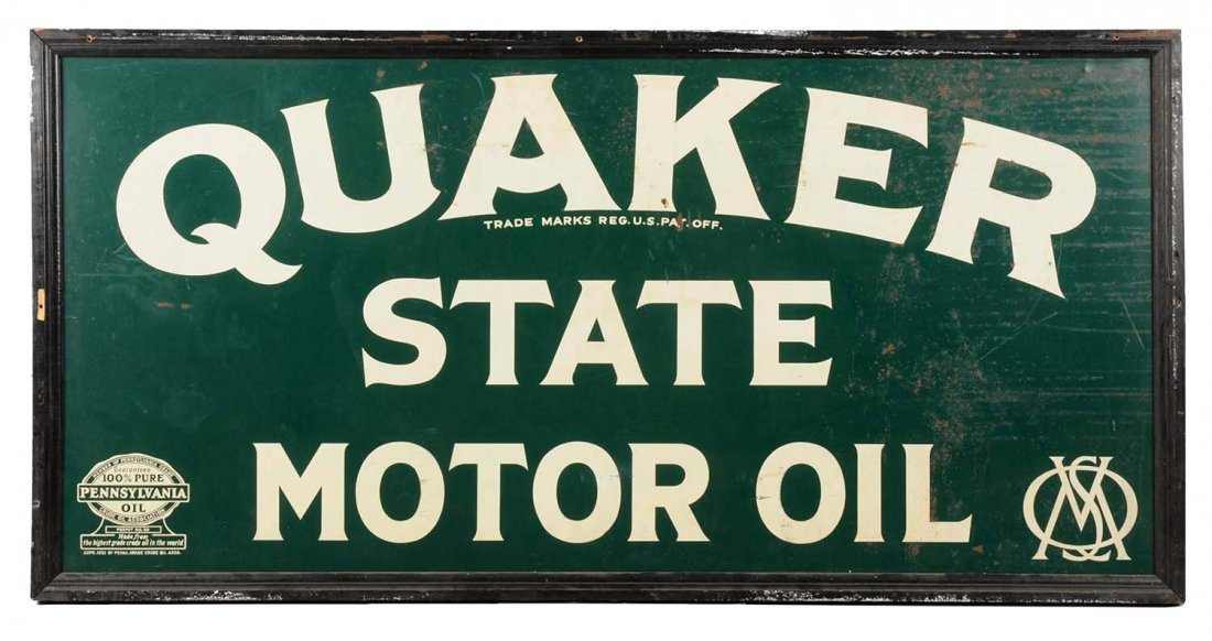 Quaker State Motor Oil Tin Sign.
