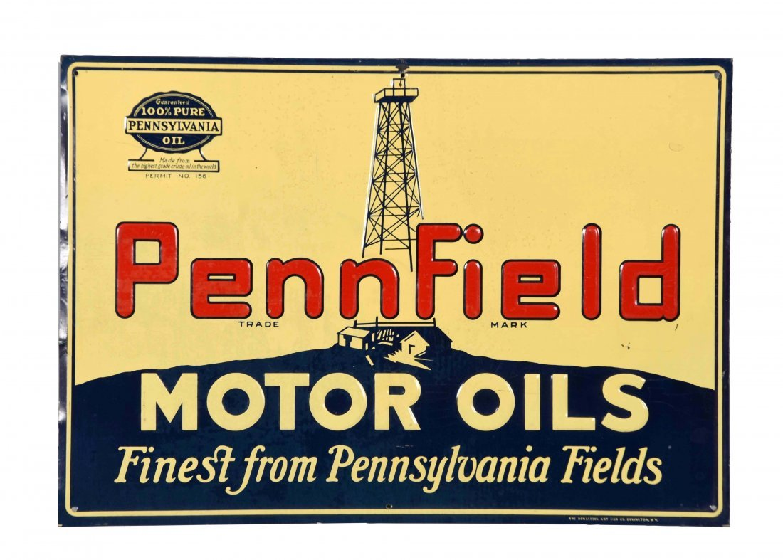 Pennfield Motor Oil with Derick Embossed Tin Sign.