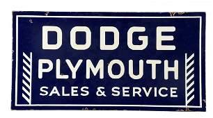 Dodge Plymouth Sales  Service Porcelain Sign