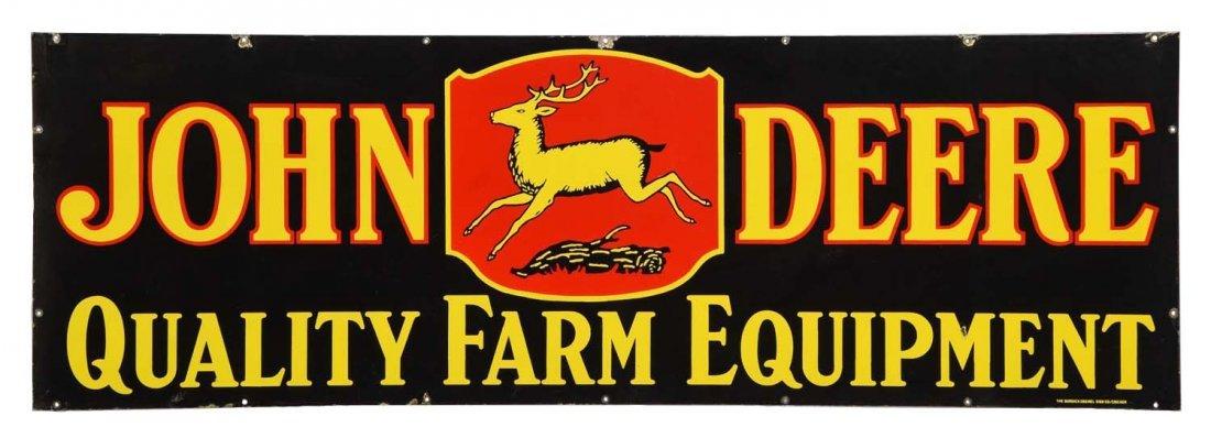 John Deere w/4-Legged Deer Logo Porcelain Sign.