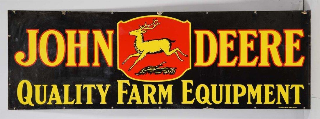 John Deere w/4-Legged Deer Logo Porcelain Sign. - 2