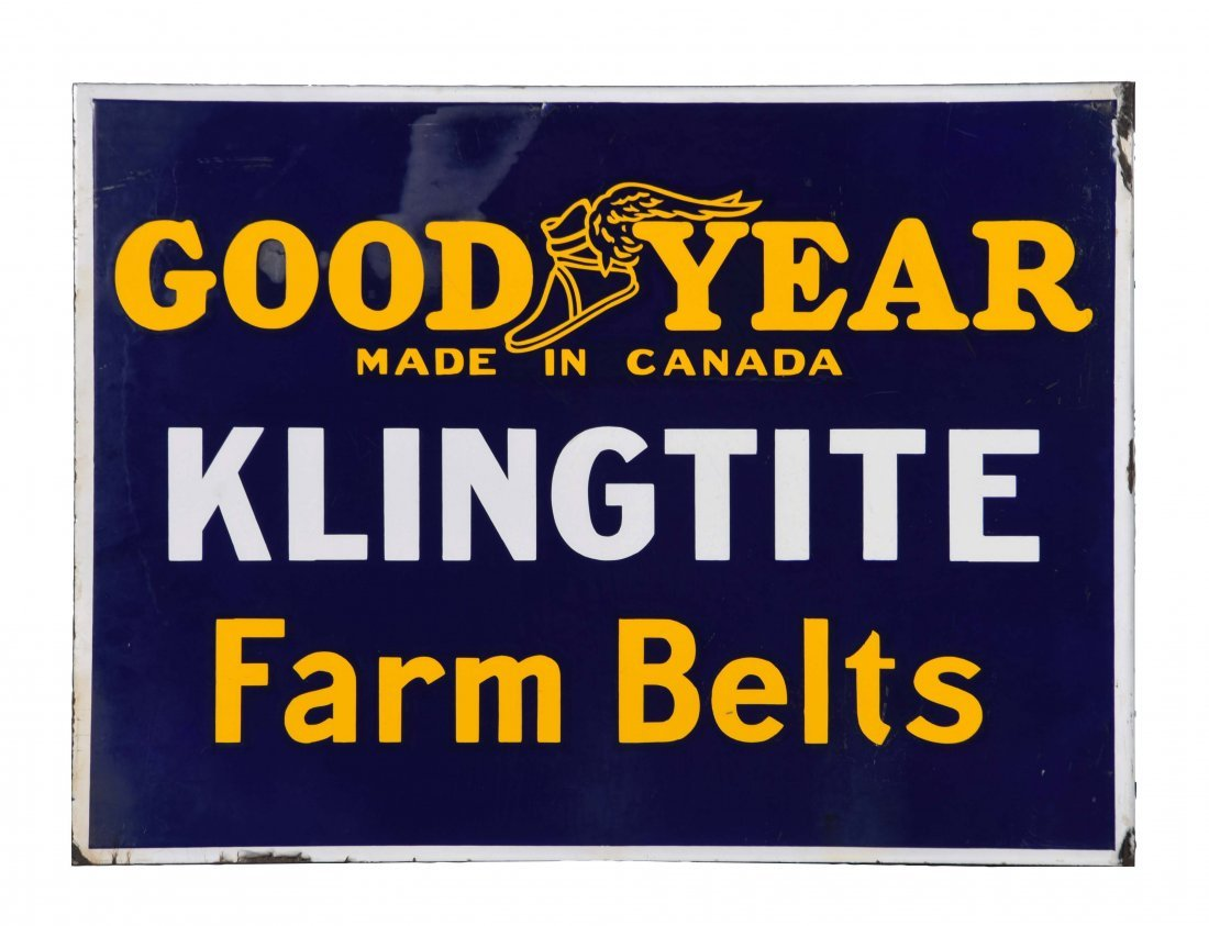 Goodyear Klingtite Farm Belts Porcelain Flange Sign.