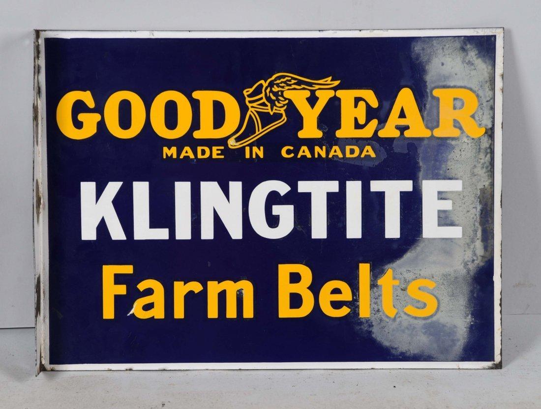 Goodyear Klingtite Farm Belts Porcelain Flange Sign. - 2