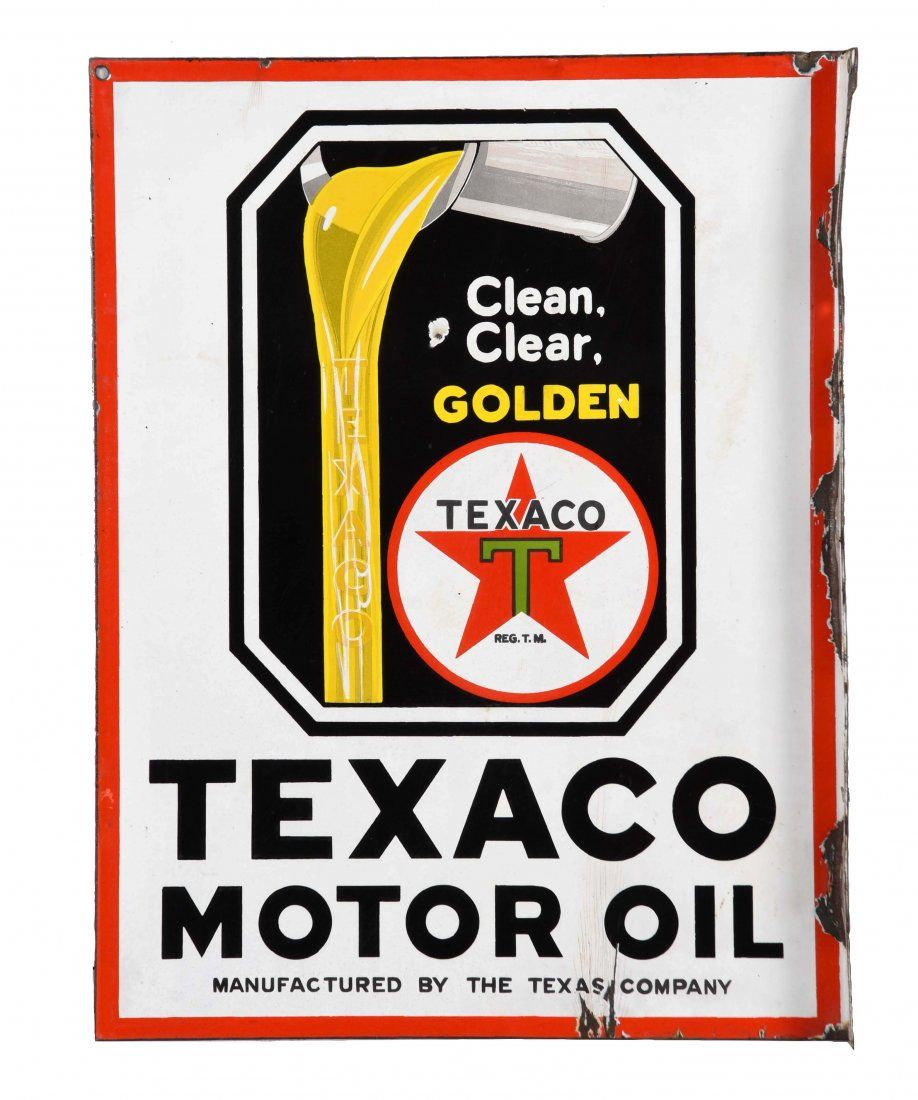 Texaco Motor Oil Porcelain Flange Sign.