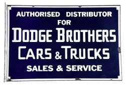 Dodge Brothers Cars  Trucks Porcelain Flange Sign