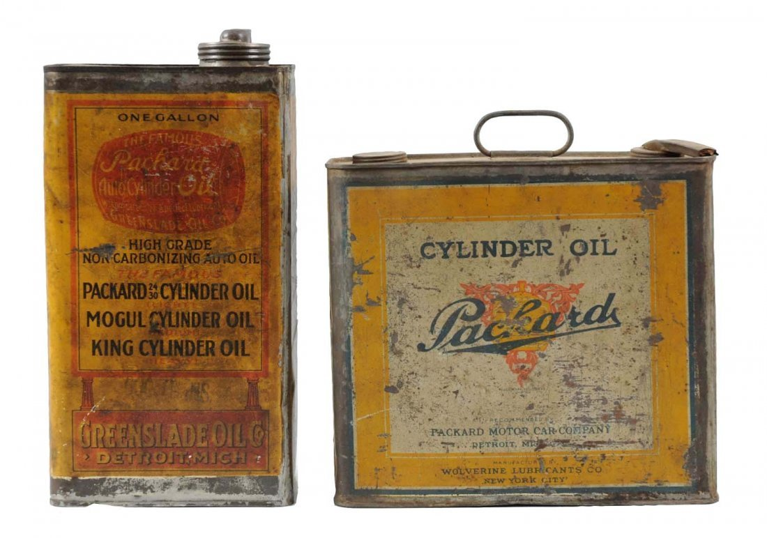 Lot of 2: Packard One Gallon Oil Cans.