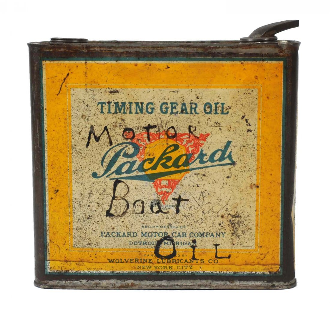 Packard Timing Gear Oil One Gallon Flat Metal Can.