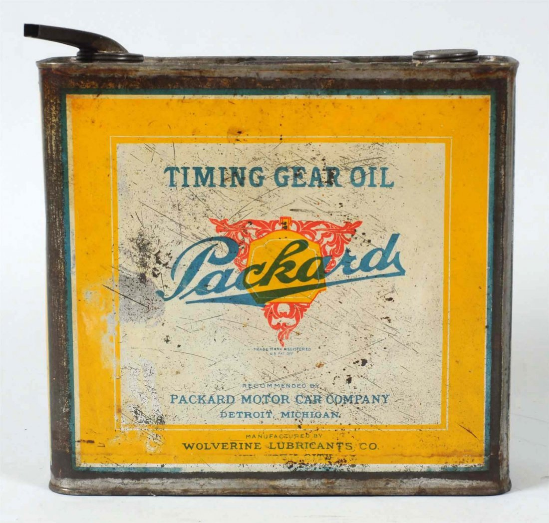 Packard Timing Gear Oil One Gallon Flat Metal Can. - 2