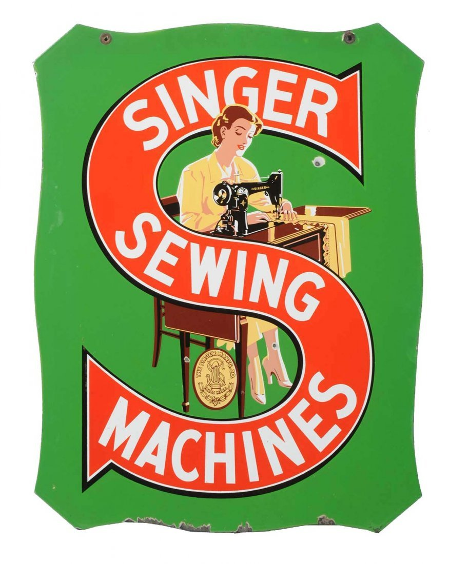 Singer Sewing Machine Diecut Porcelain Sign.
