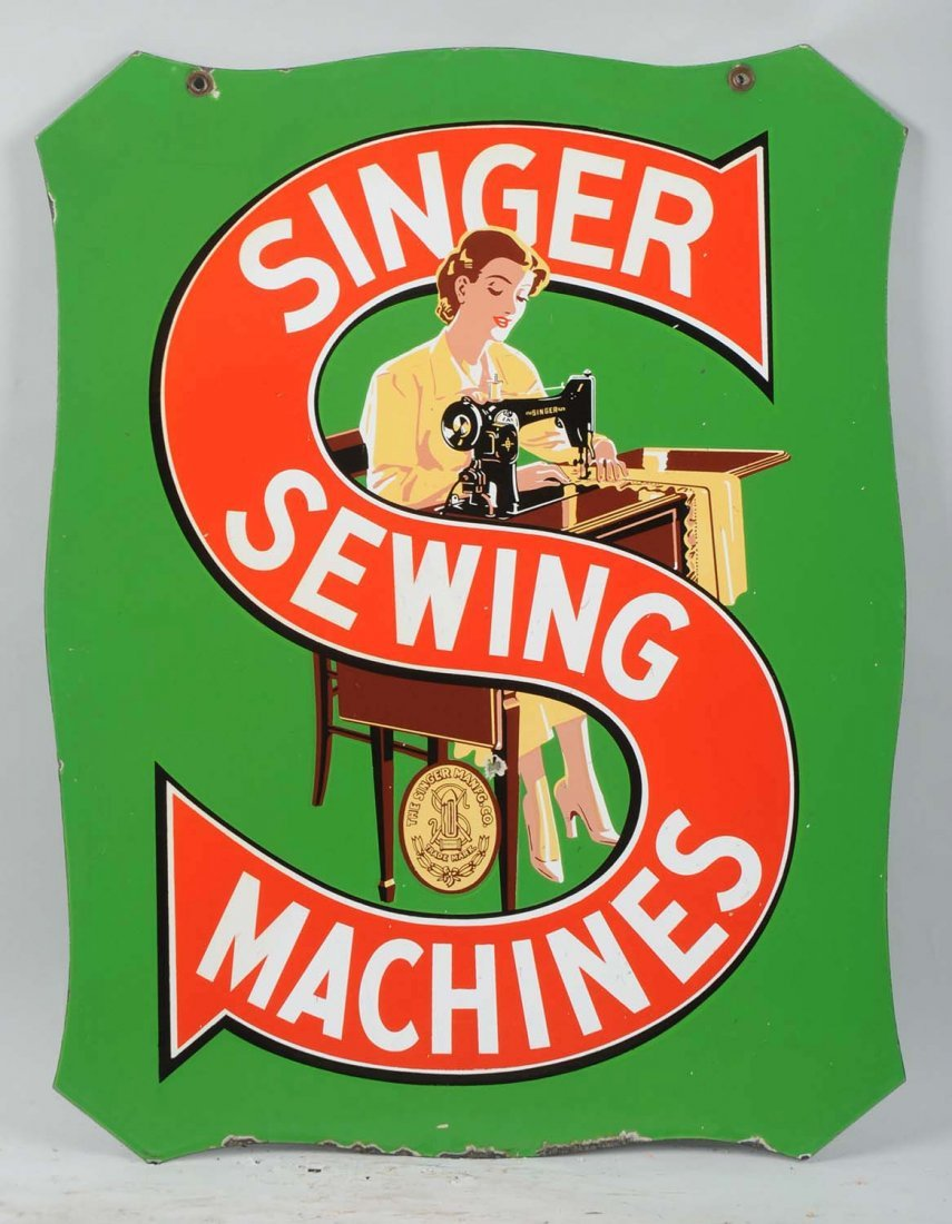 Singer Sewing Machine Diecut Porcelain Sign. - 2