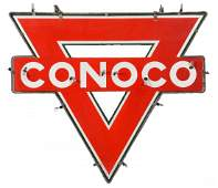 Conoco Triangle With Neon Diecut Neon Porcelain Sign.