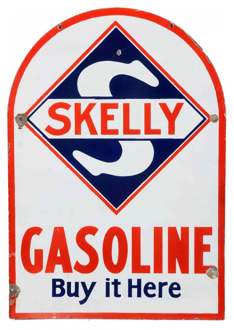 """Skelly Gasoline """"Buy It Here"""" Tombstone Shaped"""