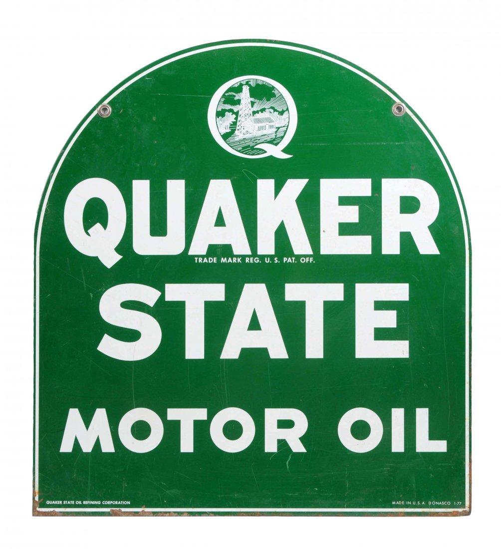 Quaker State Motor Oil Tin Sign.