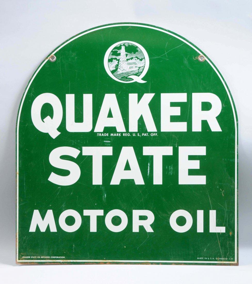 Quaker State Motor Oil Tin Sign. - 2