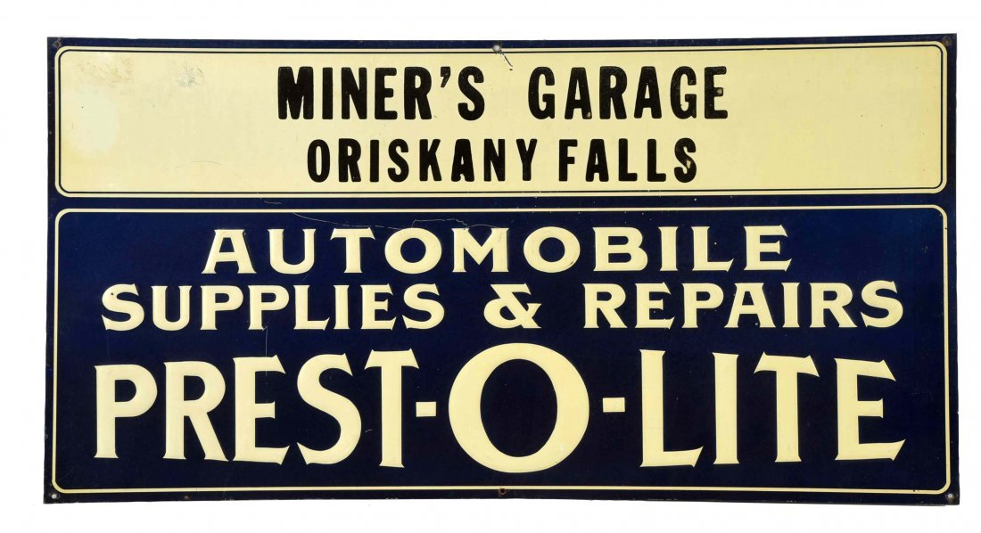 Prest-o-Lite Automobile Supplies Tin Embossed Sign