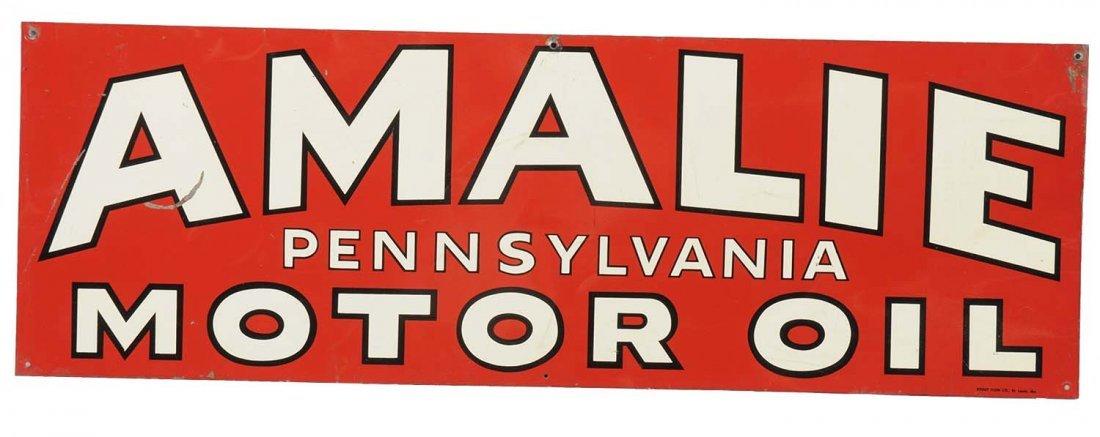 Amalie Pennsylvania Motor Oil Tin Sign.