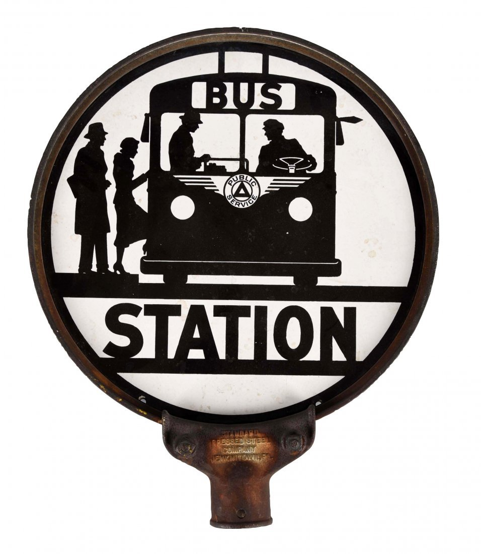 Bus Station w/ Bus Graphics Porcelain Sign.
