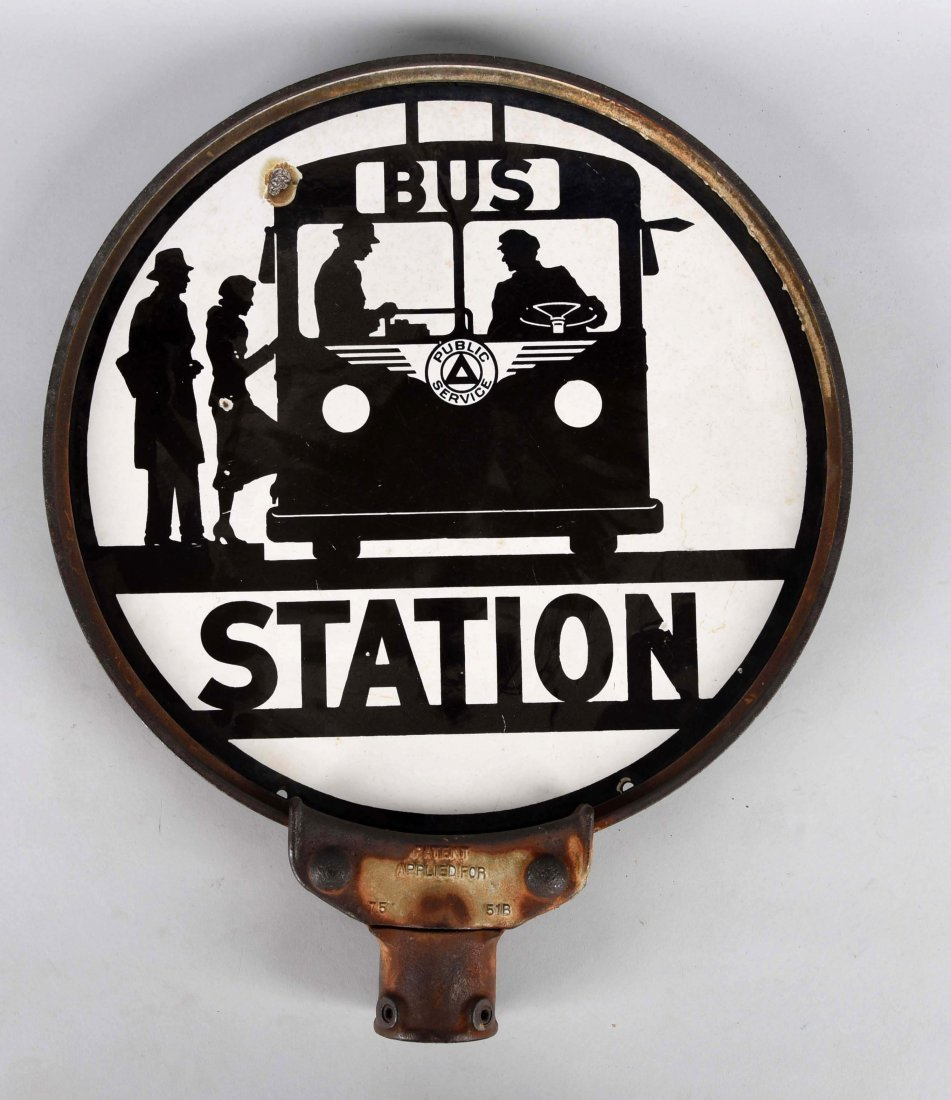 Bus Station w/ Bus Graphics Porcelain Sign. - 2