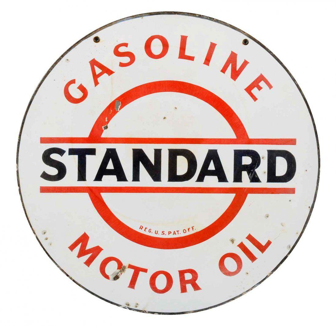 Standard (bar & circle) Gas & Oil Porcelain Sign.