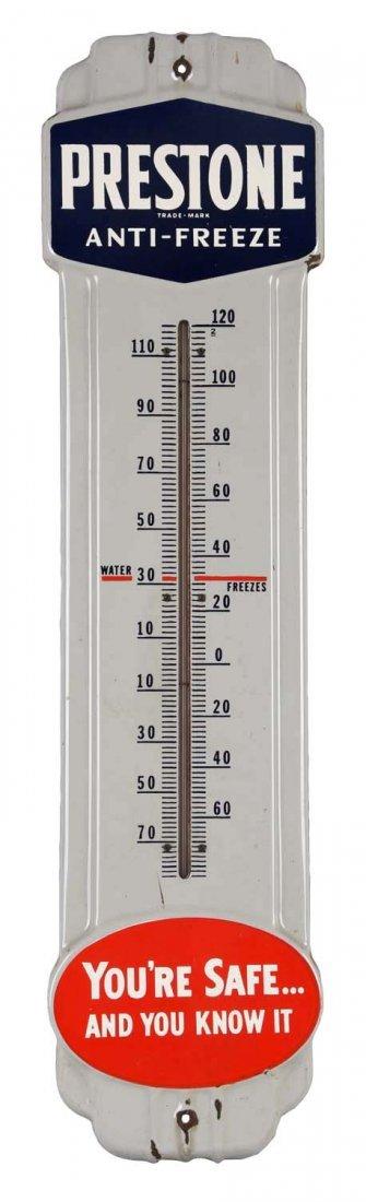 Prestone Anti-Freeze Porcelain Thermometer.