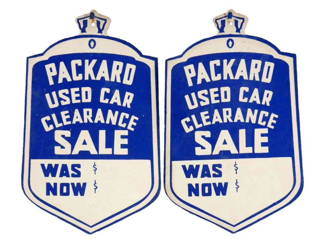 Lot of 2: Original Packard Used Car Tags.