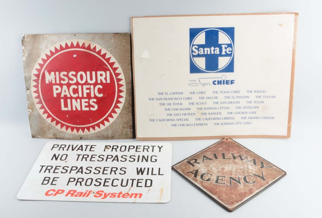 Lot Of 4: Assorted Train Signs.