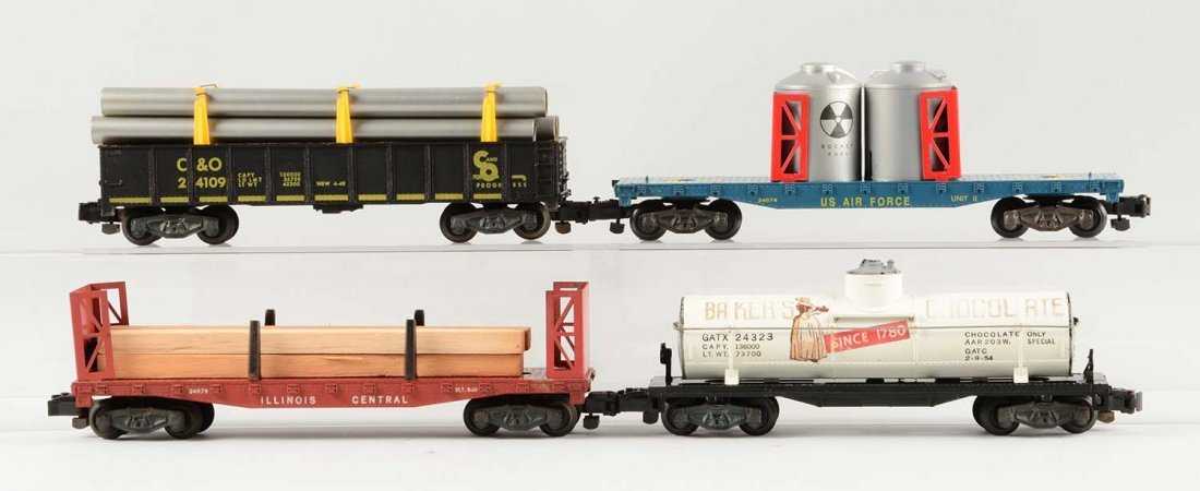 Lot of 4: Scarce American Flyer 5-Digit Freight Cars.