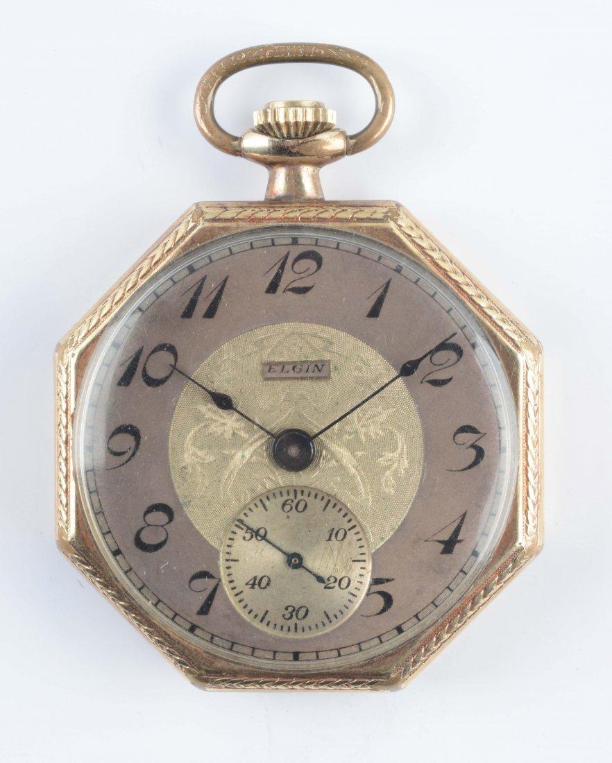 1923 Elgin Open Face Octagonal GF Pocket Watch