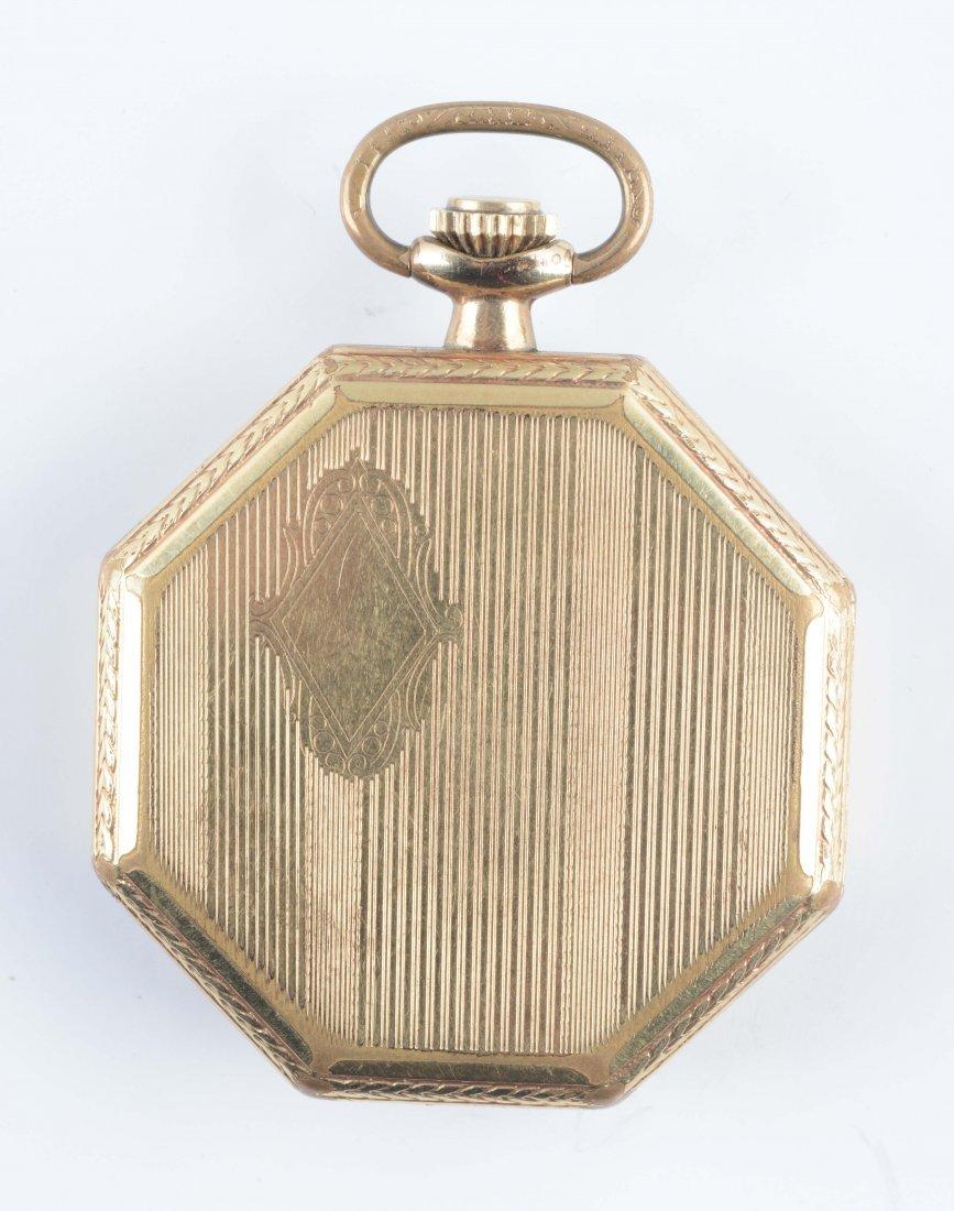 1923 Elgin Open Face Octagonal GF Pocket Watch - 2