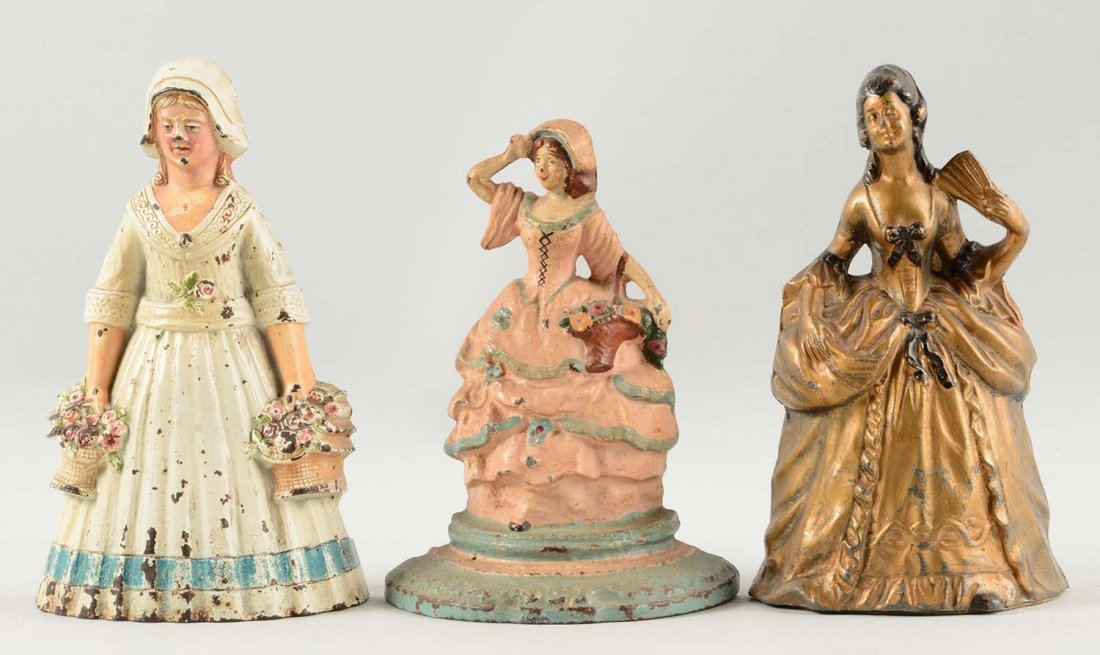 Lot of 3: Cast Iron Assorted Lady Doorstops.