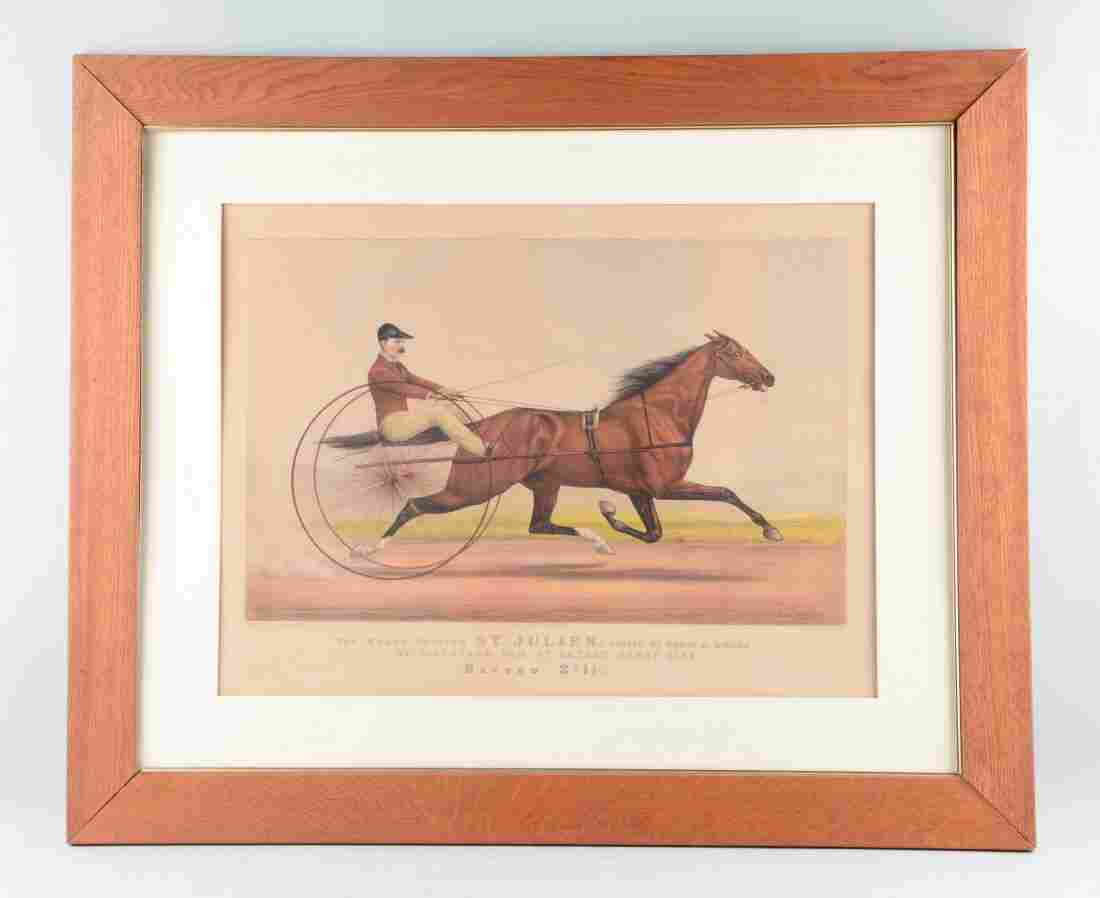 Large Currier & Ives Horse Print.