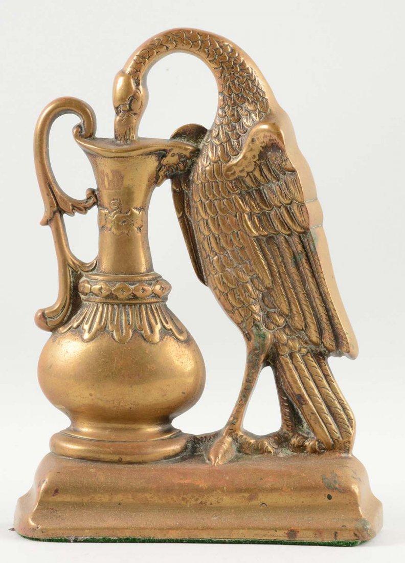 Cast Brass Stork w/ Urn Doorstop.