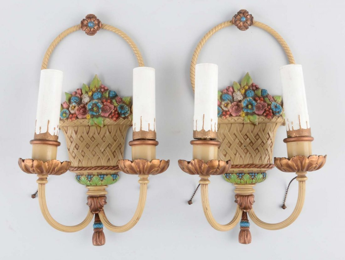 1 Pair: Cast Iron Flower in Basket Sconce Lamps.