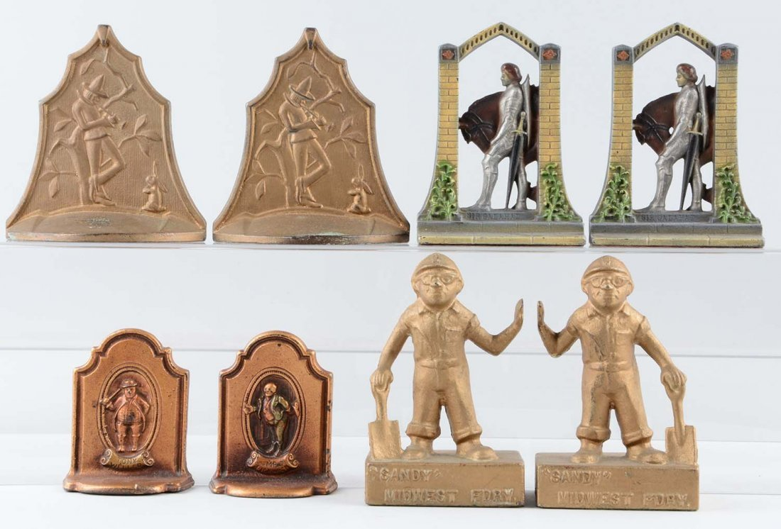 Lot of 4 pairs: Cast Iron Assorted Figural Bookends.