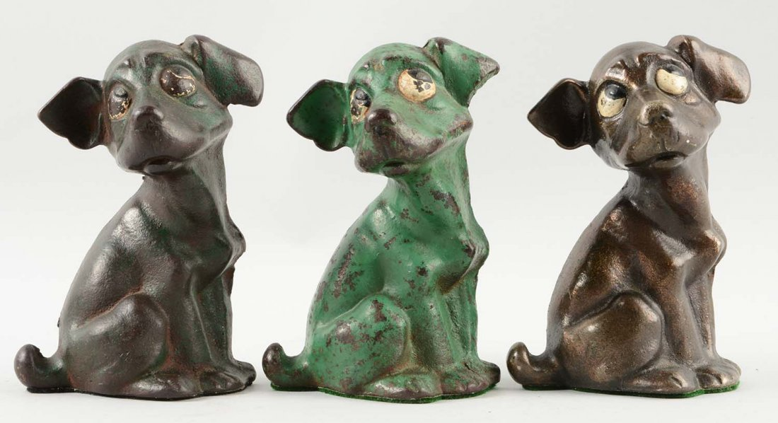 Lot of 3: Cast Iron Assorted Dog Bookends.