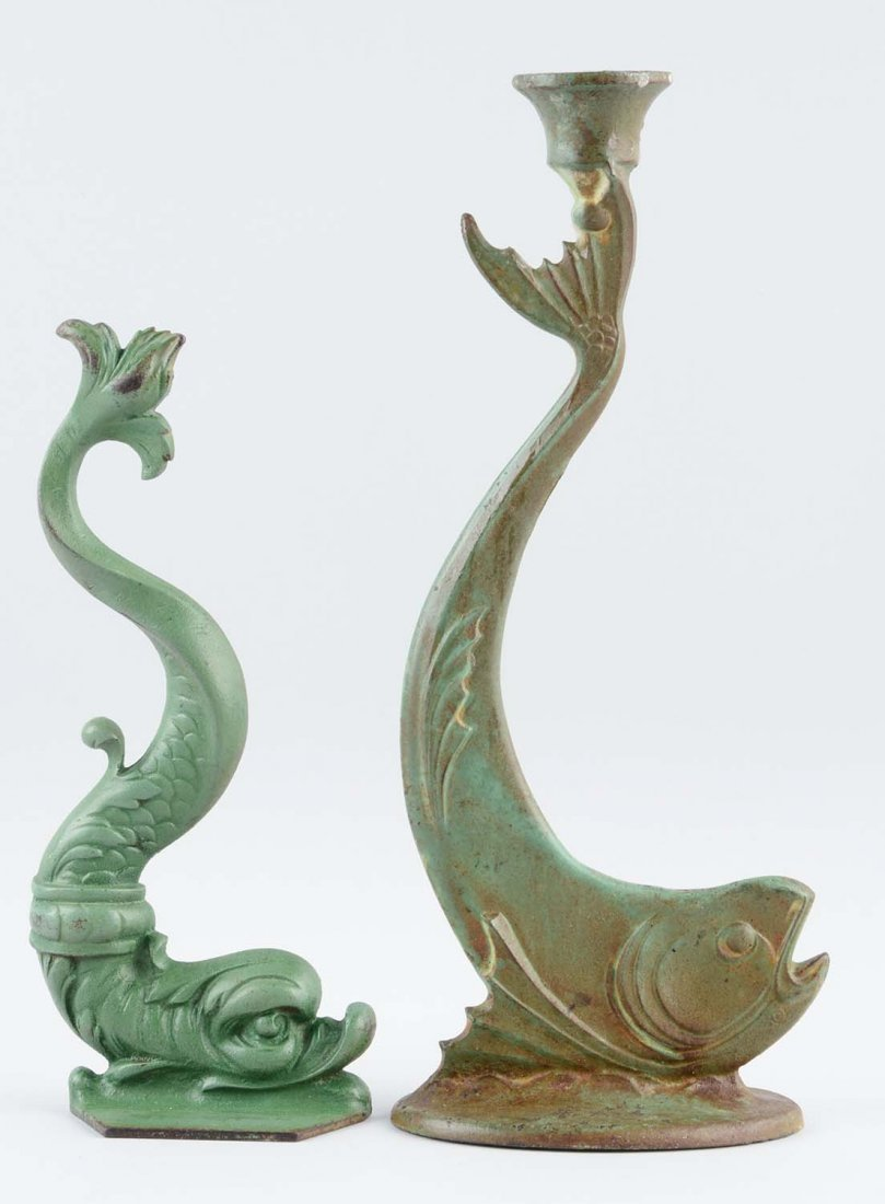 Lot of 2: Cast Iron Fish Candle Holder & Doorstop.