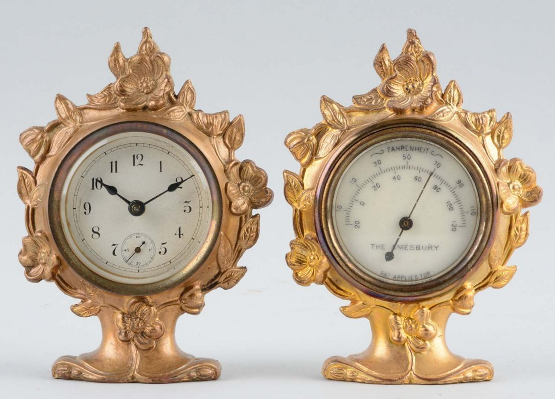 Lot Of 2: Jennings Brothers Desk Clock & Thermometer.