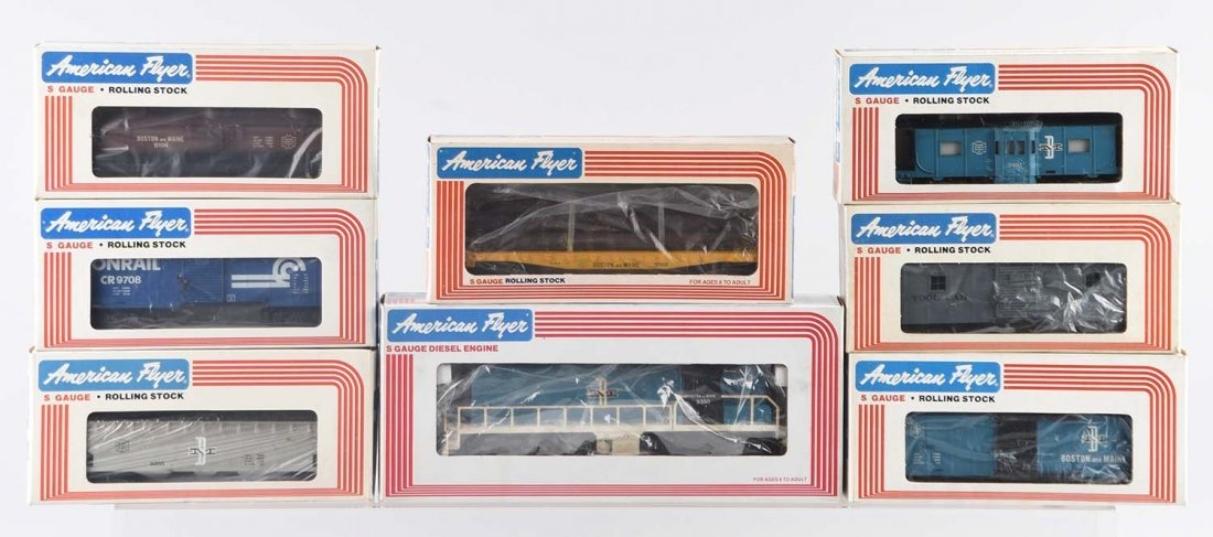 Lot Of 8: American Flyer Boston & Maine Freight Set.