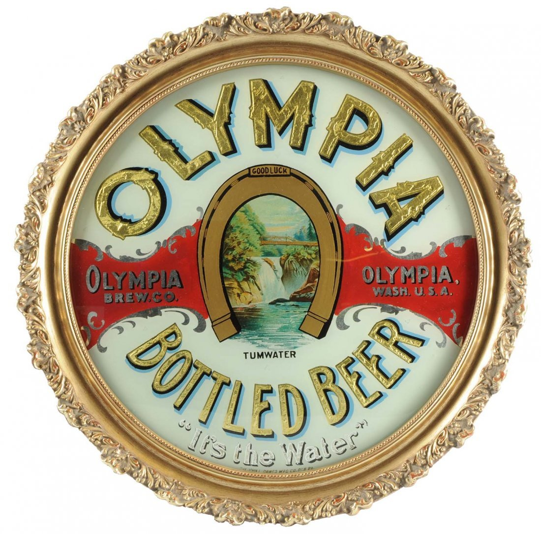 Olympia Bottled Beer Reverse Glass Saloon Sign