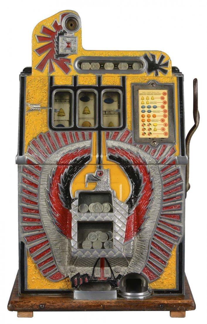 **5¢ Mills Yellow War Eagle Slot Machine
