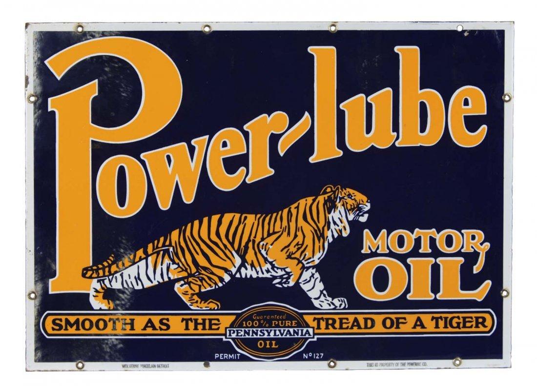 Power-Lube Motor Oil Porcelain Enamel Sign