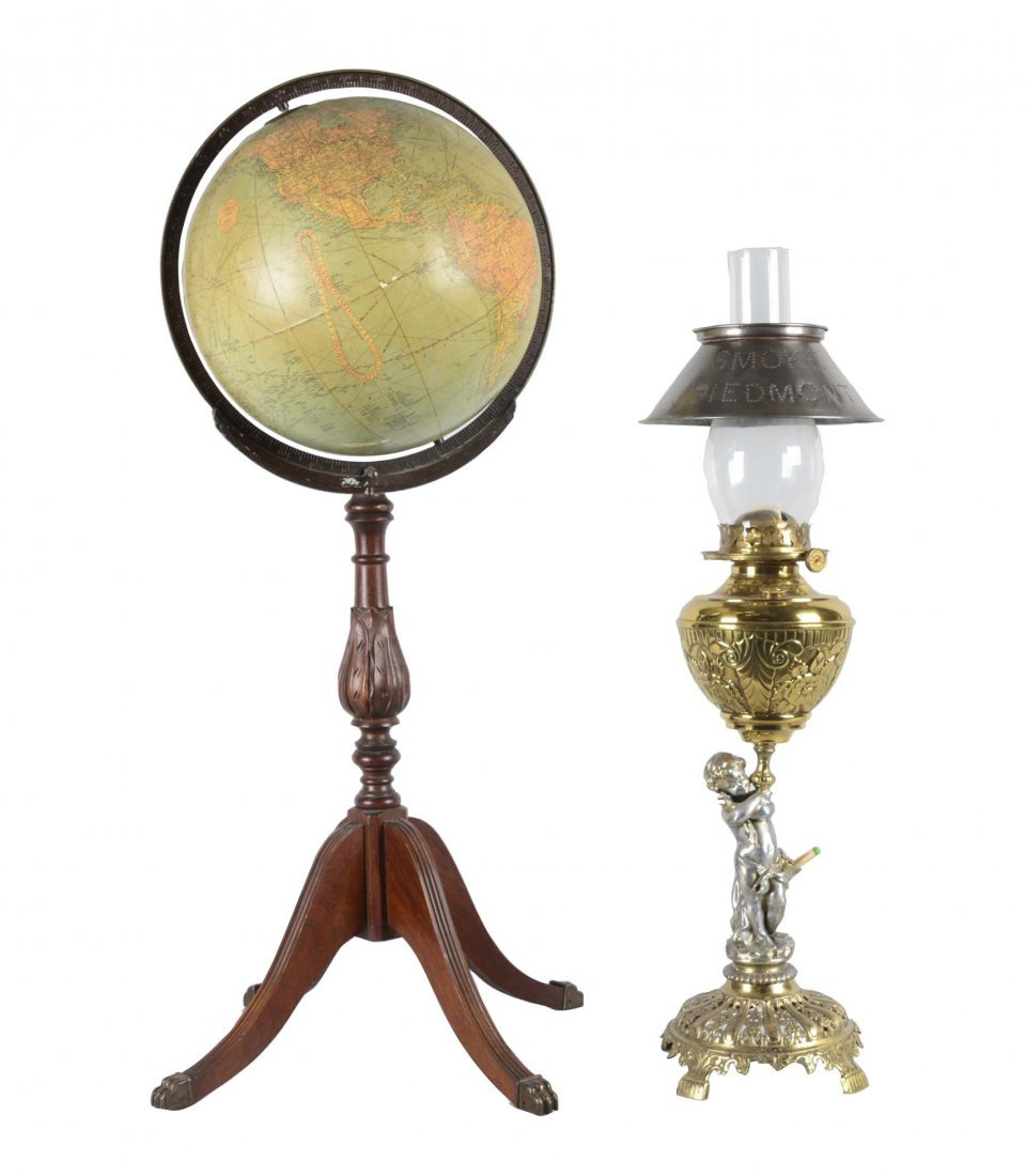 Lot Of 2: Globe and Gas Lamp